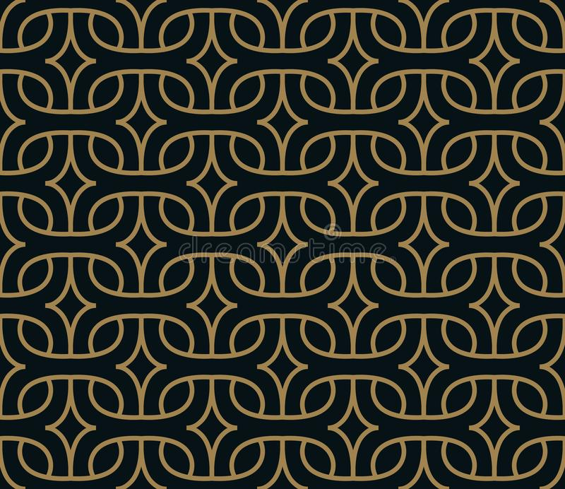 Abstract geometric pattern with lines. A seamless vector background. Blue black and gold texture stock illustration