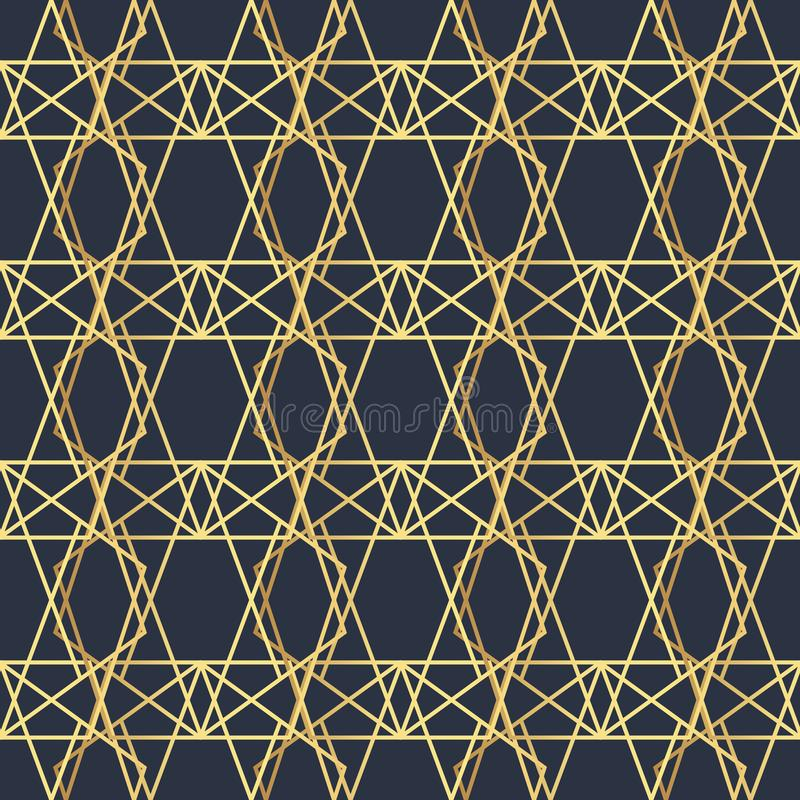 Abstract geometric pattern with lines. A seamless vector background. Dark blue and gold texture. Polygonal seamless background vector illustration