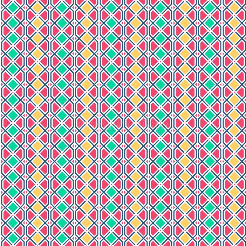 Abstract geometric pattern with lines. A seamless vector background. Graphic modern pattern in yellow, pink, green color royalty free illustration