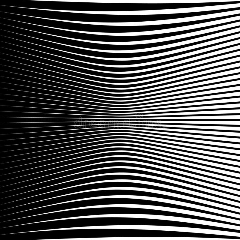 Abstract geometric pattern with squeezed-compressed distortion e. Ffect on lines, stripes. Abstract artistic monochrome background - Royalty free vector royalty free illustration