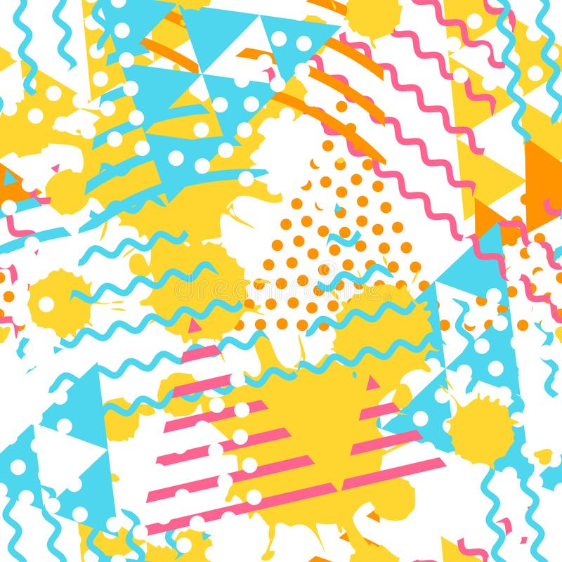 Abstract geometric pattern with triangle shapes and grunge stain texture.  royalty free illustration