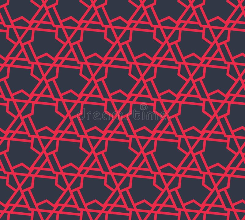 Abstract geometric pattern with triangles and lines - vector eps8. Seamless abstract retro pattern from geometric hexagons and triangles in red colors. Suitable royalty free illustration