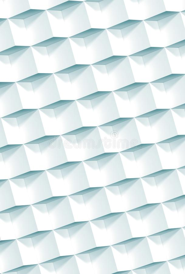 Abstract geometric pattern, white cubes relief. Pattern, vertical background, 3d illustration royalty free stock image
