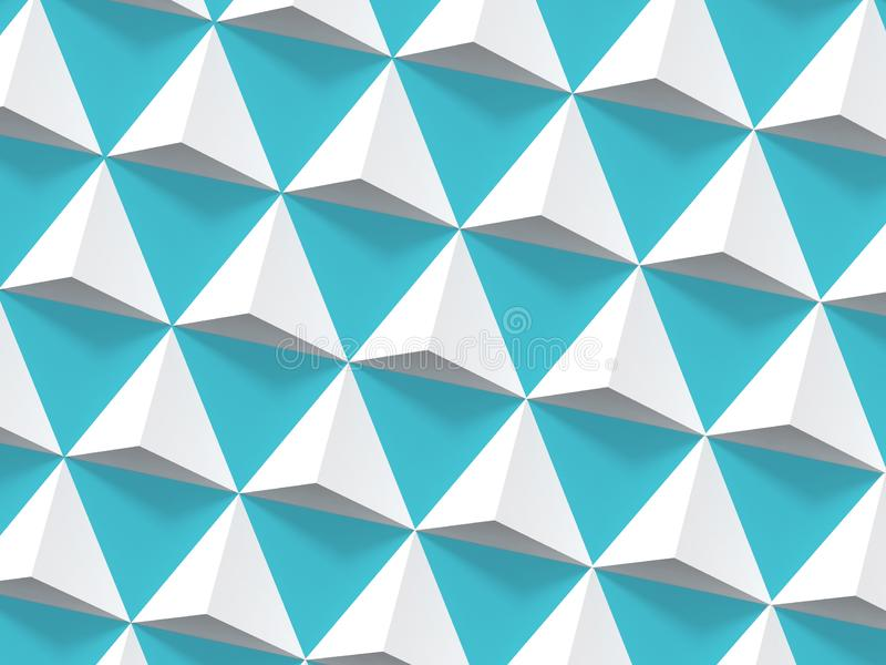 Abstract geometric pattern, white pyramids 3d. Abstract geometric pattern, white pyramids array over blue wall, 3d render illustration stock images
