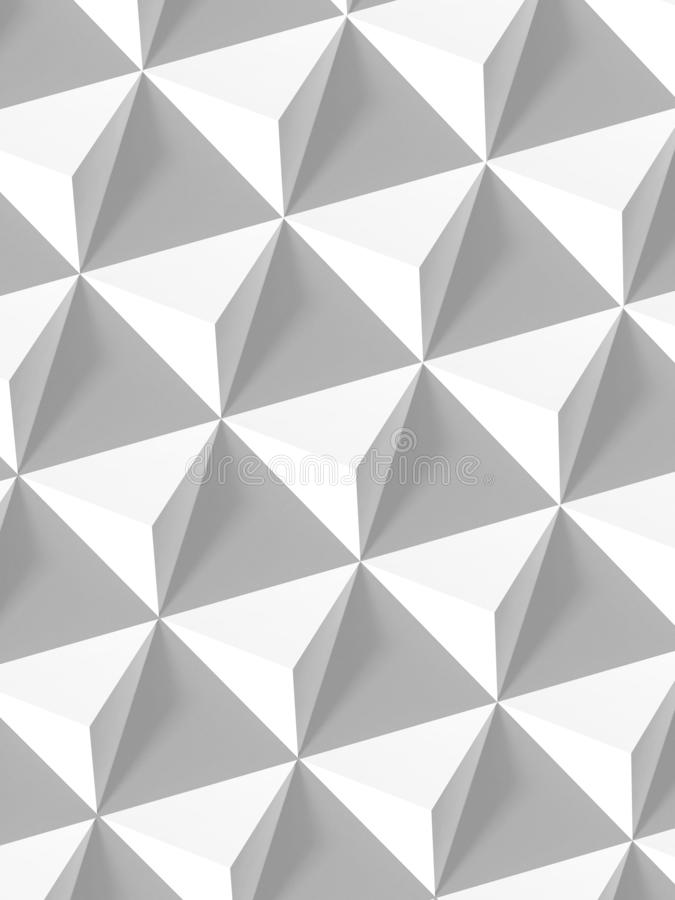 Abstract geometric pattern, white pyramids 3d. Abstract geometric pattern, white pyramids array vertical background, 3d render illustration stock photo
