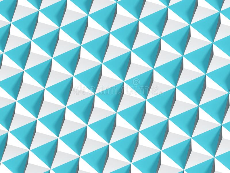 Abstract geometric pattern, white pyramids. Over blue wall, 3d render illustration royalty free stock image