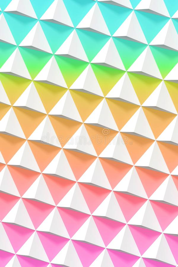 Abstract geometric pattern, white pyramids. Over colorful wall, 3d render illustration royalty free stock photos