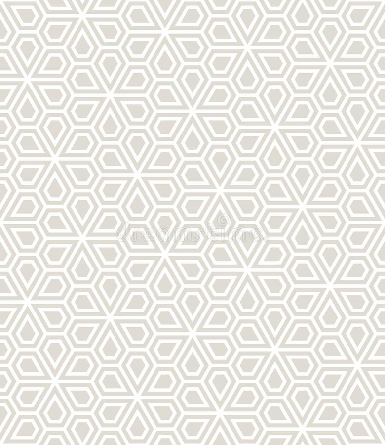 Abstract geometric pentagon grid seamless floral pattern royalty free illustration
