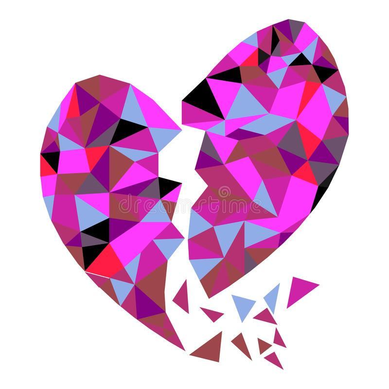 Abstract geometric Polygon broken heart valentine royalty free illustration