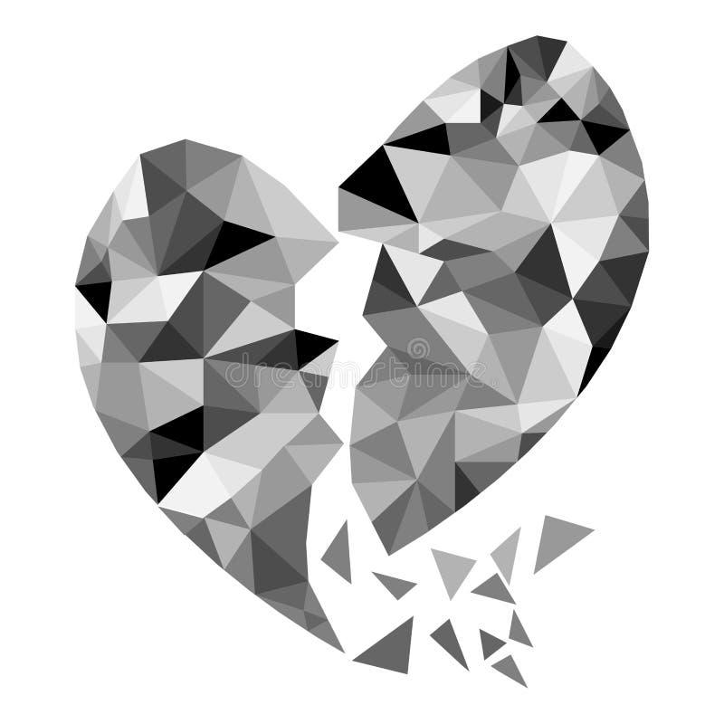 Abstract geometric Polygon broken heart valentine vector illustration