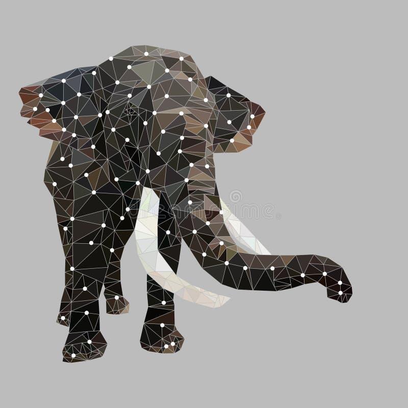 Abstract geometric polygon, polygonal animal, elephant vector royalty free illustration