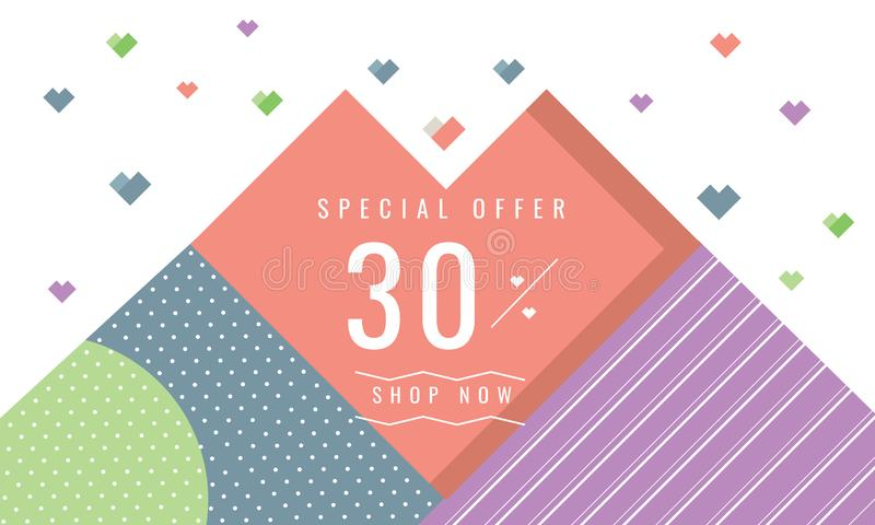 Abstract geometric promotion sale banner with discount offer stock illustration