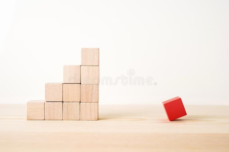 Abstract geometric real wooden cube with surreal layout on white floor background and it`s not 3D render. It`s the symbol of opp stock photography
