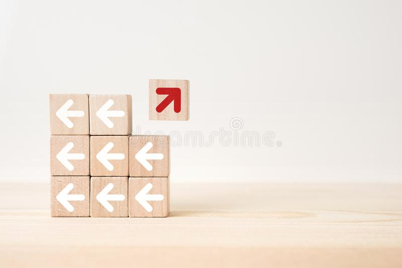 Abstract geometric real wooden cube with surreal layout on white floor background and it`s not 3D render. It`s the symbol of lea stock image