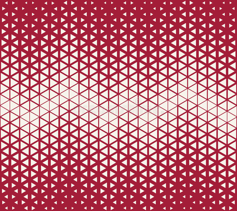 Abstract geometric red deco art halftone hexagone and triangle print pattern. Background stock illustration