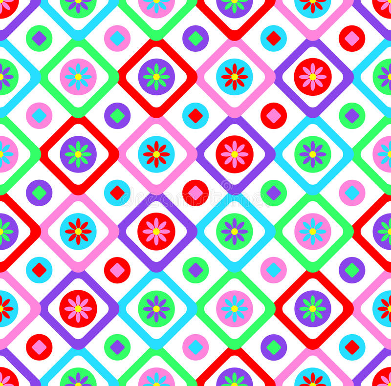 Abstract geometric seamless floral pattern vector background patchwork style design with colorful squares and spring summer flow vector illustration