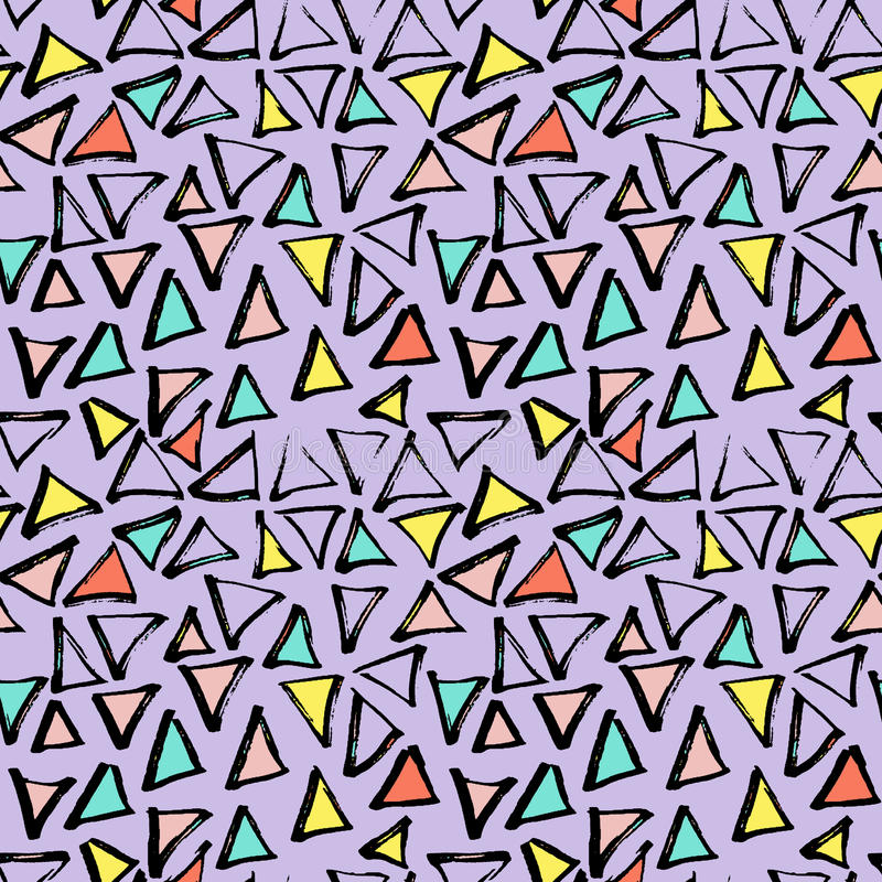 Abstract geometric seamless hand drawn pattern. Modern free hand texture. Colorful geometric doodle background. vector illustration