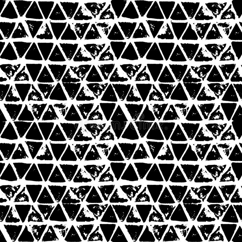 Abstract geometric seamless hand drawn pattern. Modern grunge texture. Monochrome brush painted background. vector illustration