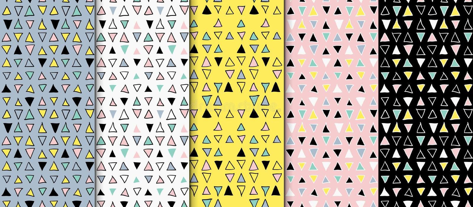 Abstract geometric seamless hand drawn pattern set. Modern free hand textures. Colorful geometric doodle backgrounds. vector illustration