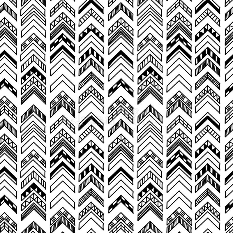 Abstract geometric seamless hand drawn pattern with tribal motifs. Modern texture. Monochrome free hand background. royalty free illustration