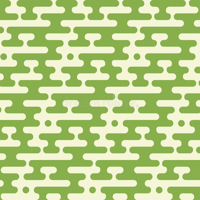 Abstract geometric seamless hipster fashion pillow pattern. Random halftone rounded lines greenery background. stock illustration