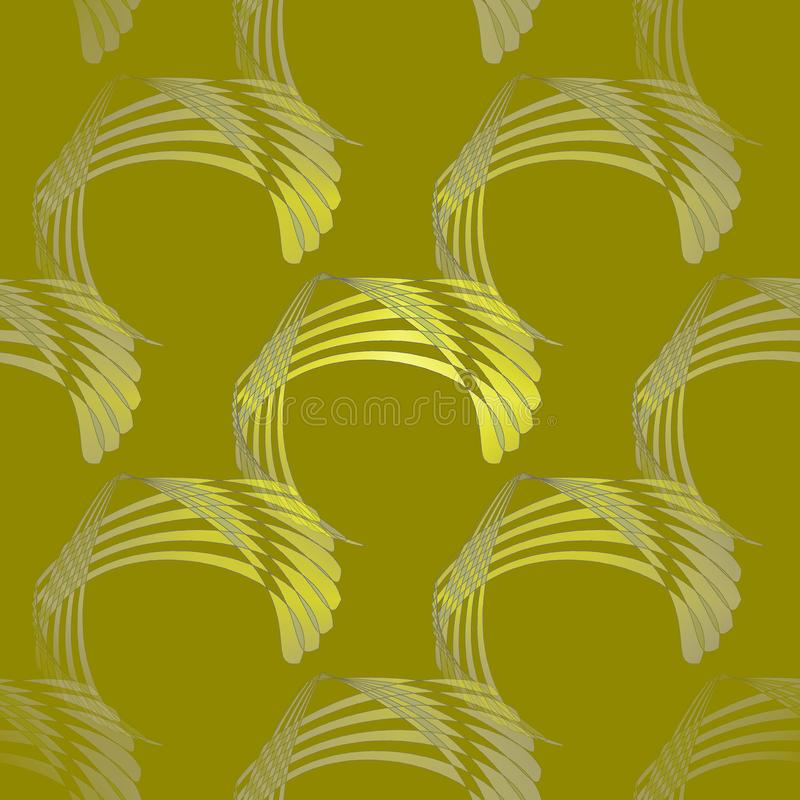 Seamless curved stripes pattern yellow olive green gray diagonally. Abstract geometric seamless modern background. Regular curved stripes pattern yellow green stock illustration