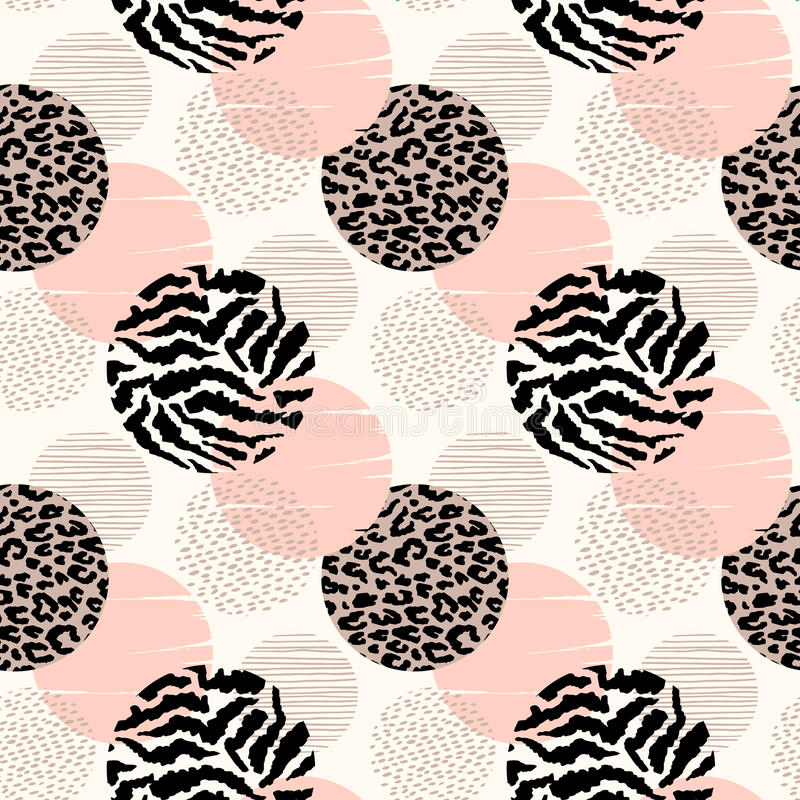 Abstract geometric seamless pattern with animal print and circles. Trendy hand drawn textures. Modern abstract design for paper, cover, fabric, interior decor royalty free illustration