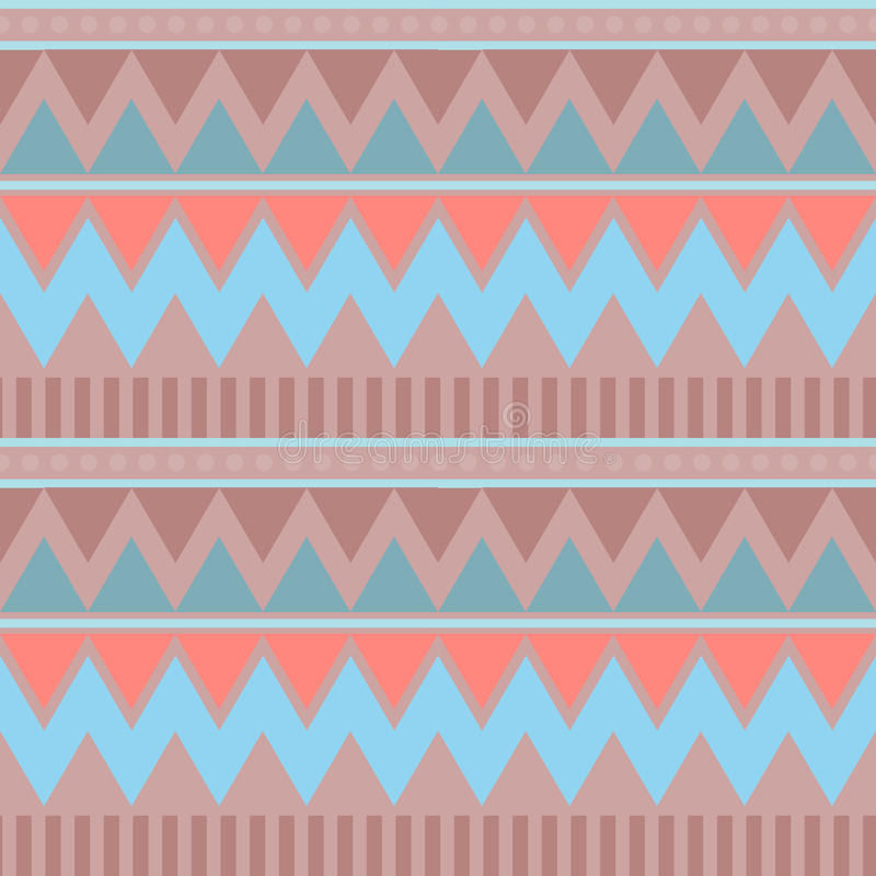 Abstract geometric seamless pattern. Aztec style with triangle and line tribal Navajo pattern. blue beige pink brown geometric pri royalty free illustration