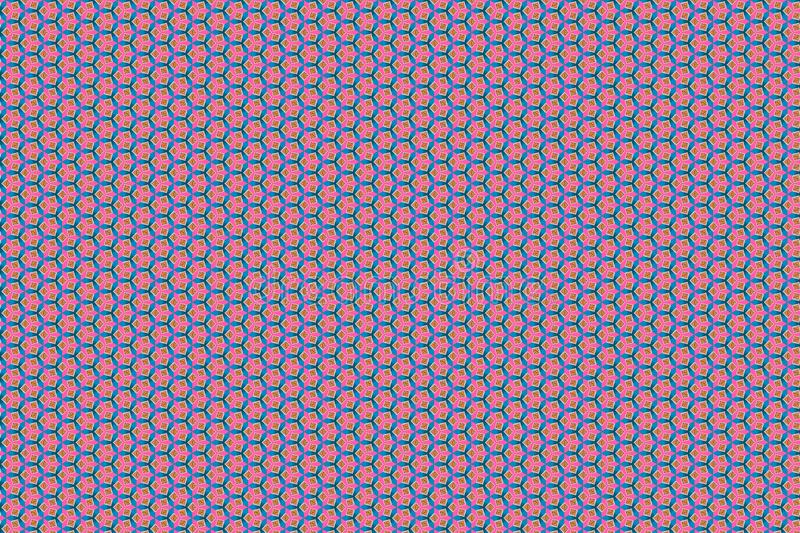 Abstract geometric seamless pattern background, Kaleidoscope effect rose blue chickpeas royalty free illustration