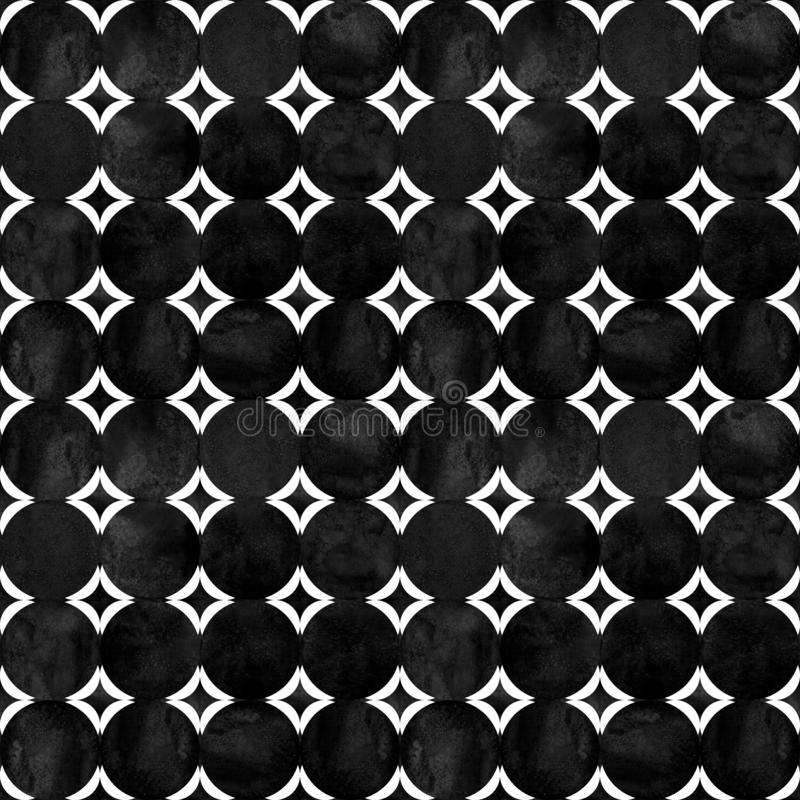 Abstract geometric seamless pattern. Black and white minimalist monochrome watercolor artwork royalty free stock images