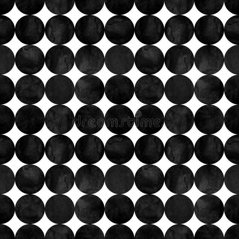Abstract geometric seamless pattern. Black and white minimalist monochrome watercolor artwork royalty free stock photos