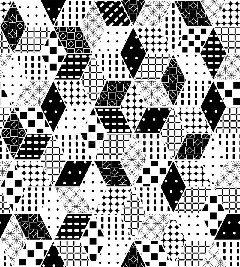 Abstract geometric seamless pattern. Black and white vector background. Ornament with rhombuses, diamond shapes, grid. Elegant stock illustration