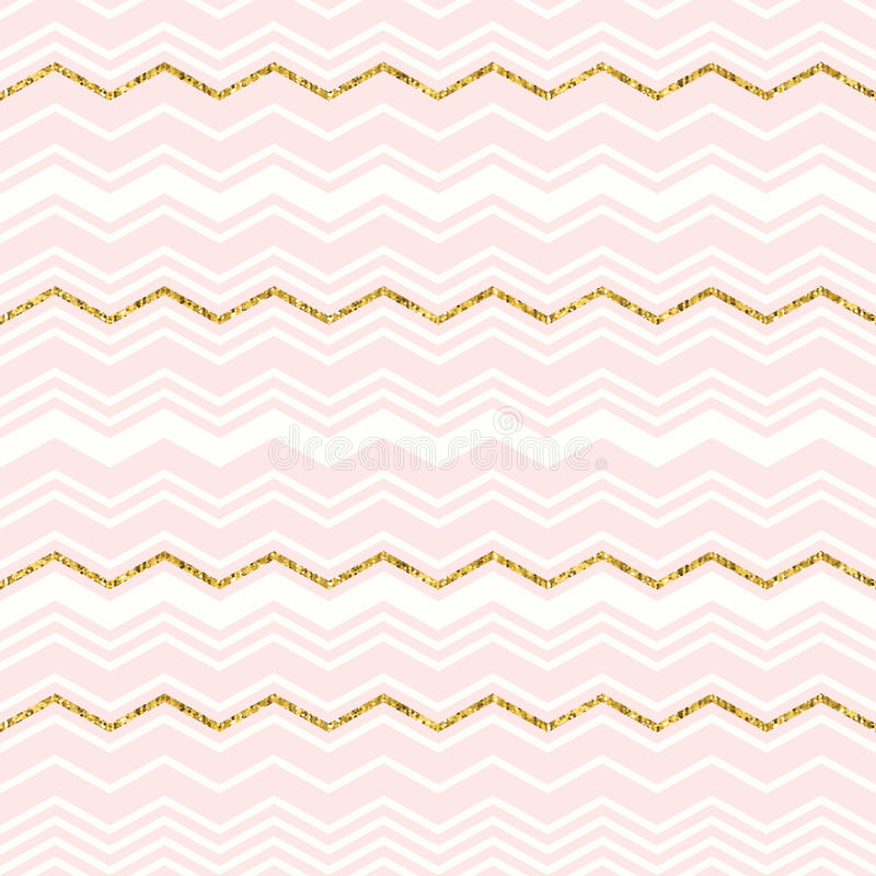 Abstract geometric seamless pattern with chevron. Gold glitter royalty free illustration
