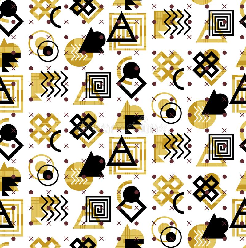 Abstract geometric seamless pattern. Colored aztec style pattern.Seamless ancient coins pattern with watercolor flowers and whiteC vector illustration