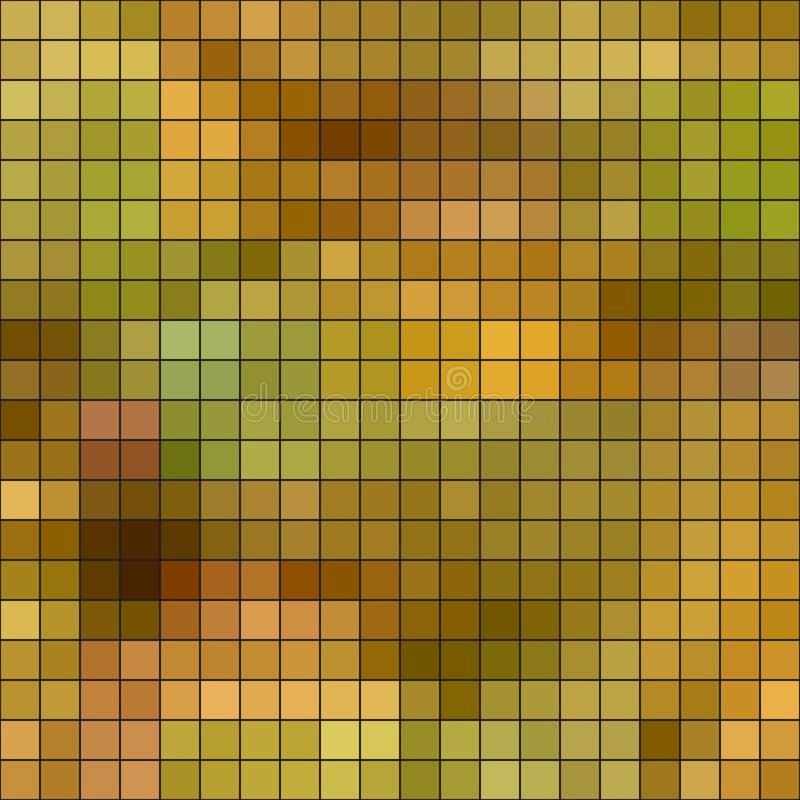 Abstract geometric seamless pattern of colored squares, mosaic, olive, yellow green, yellow gold, ocher royalty free illustration