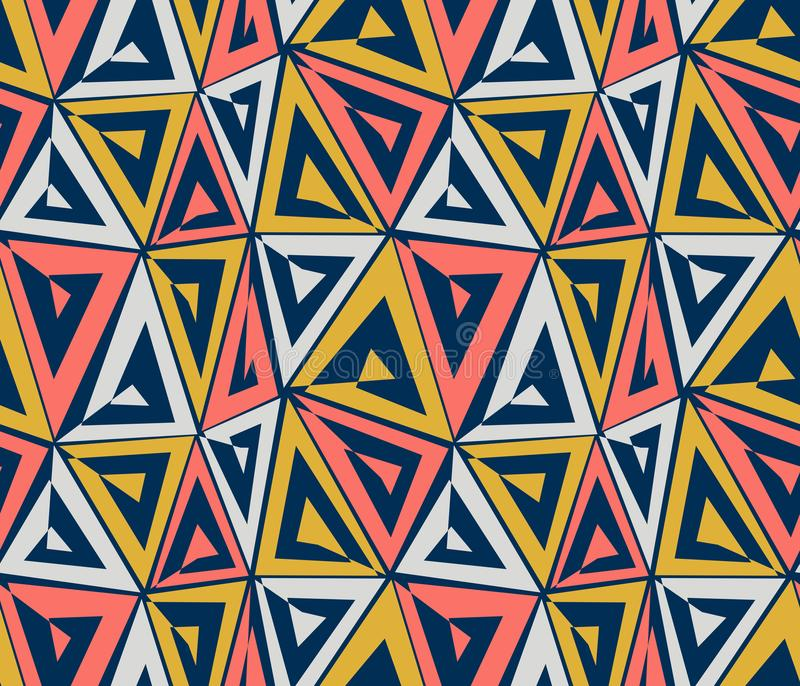 Abstract geometric seamless pattern. Coral, grey, yellow triangles on blue background. stock illustration