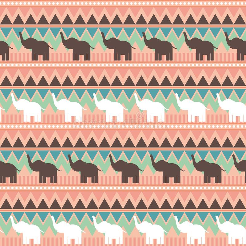 Abstract geometric seamless pattern with elephant, triangle and line tribal pattern. Green pink brown geometric print, ethnic hips royalty free illustration