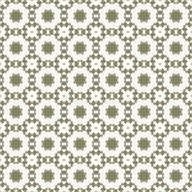 Abstract geometric seamless pattern with golden circular ornament. And geometric shapes on a white background vector illustration