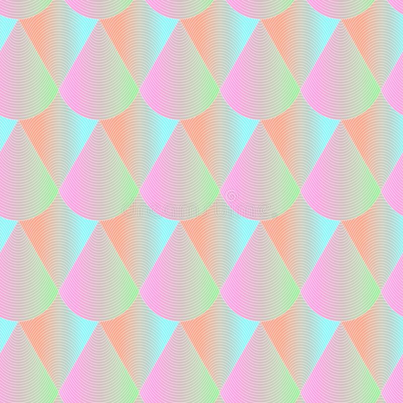 Abstract geometric seamless pattern. Hologram effect regular repeatable background. Texture with bright color scales royalty free illustration