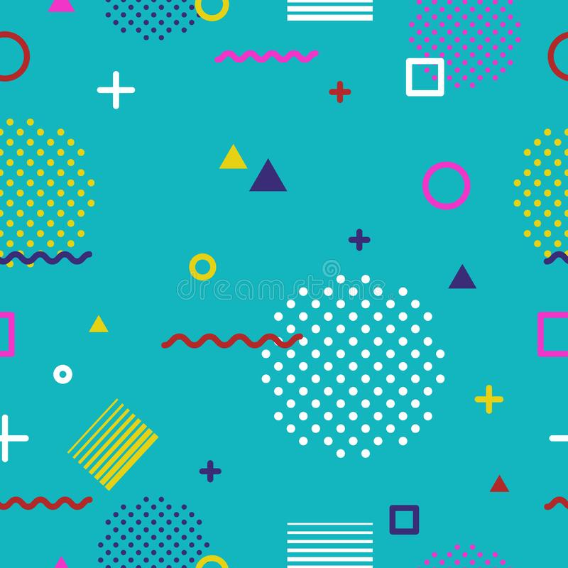 Abstract geometric seamless pattern in Memphis style on blue background. Fashion 80s-90s trends designs, Retro funky royalty free stock image