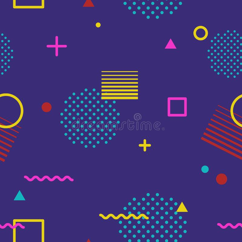 Abstract geometric seamless pattern in Memphis style on dark background. Fashion 80s-90s trends designs, Retro funky stock photography