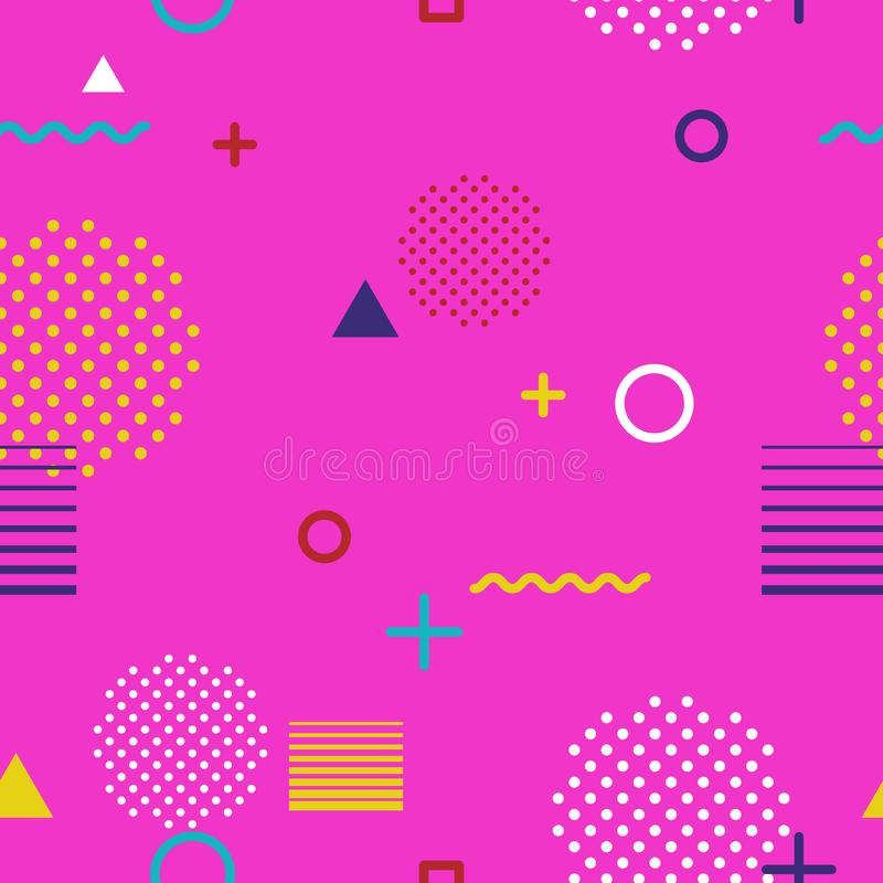 Abstract geometric seamless pattern in Memphis style on pink background. Fashion 80s-90s trends designs, Retro funky royalty free stock image