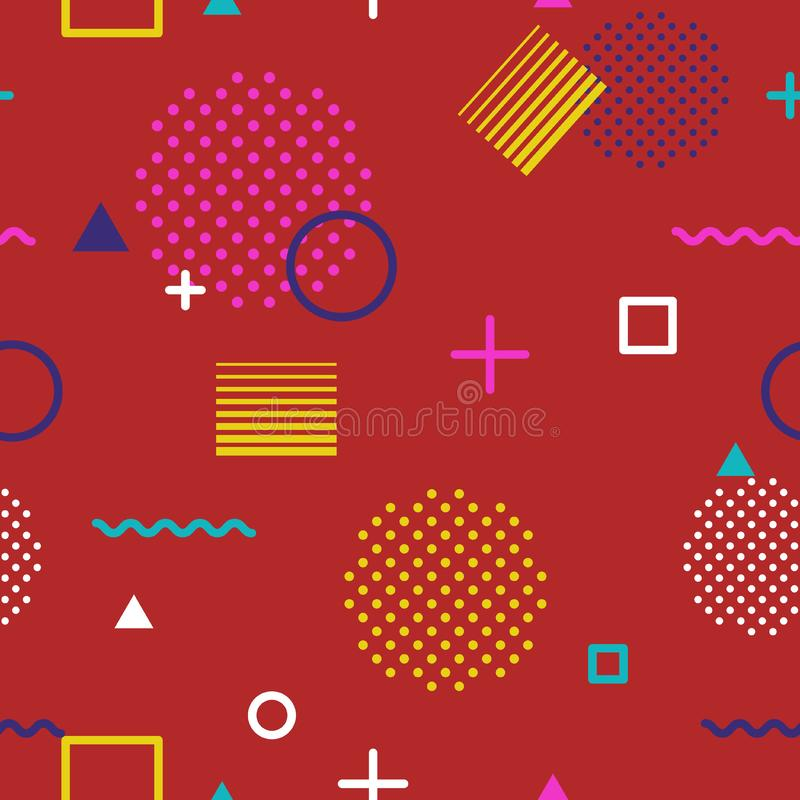 Abstract geometric seamless pattern in Memphis style on red background. Fashion 80s-90s trends designs, Retro funky stock photos