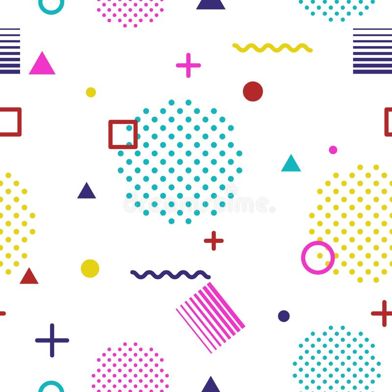 Abstract geometric seamless pattern in Memphis style on white background. Fashion 80s-90s trends designs, Retro funky stock photography