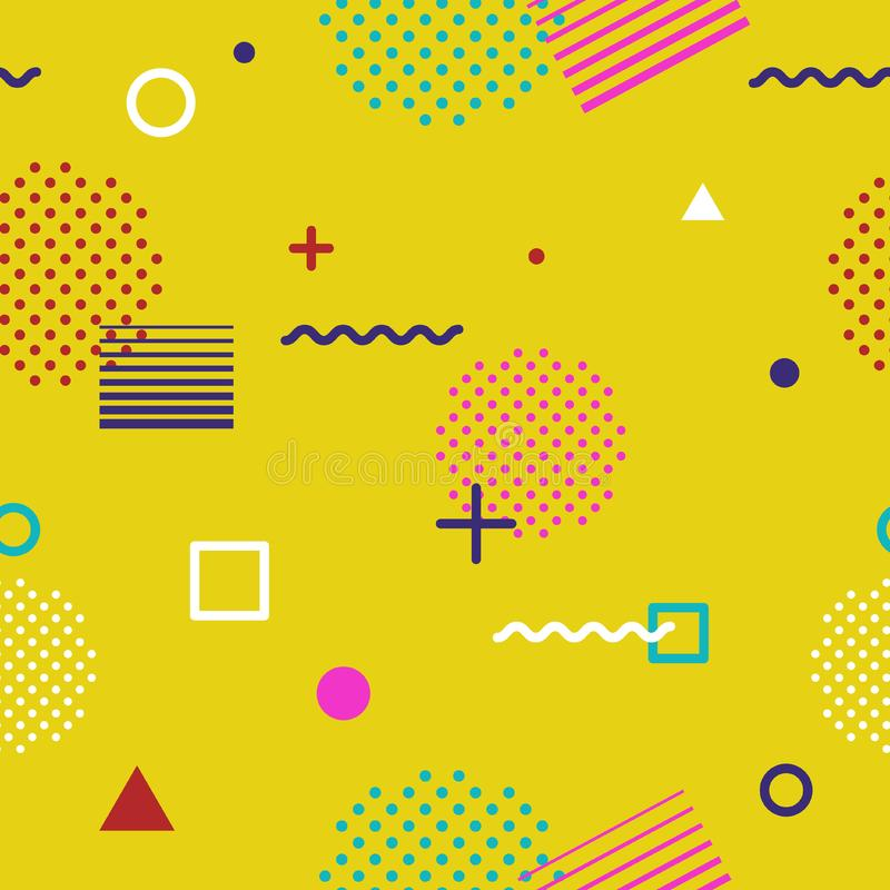 Abstract geometric seamless pattern in Memphis style on yellow background. Fashion 80s-90s trends designs, Retro funky royalty free stock images