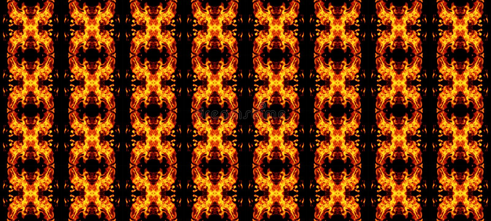 Abstract geometric seamless pattern, orange-red elements on a bl royalty free illustration
