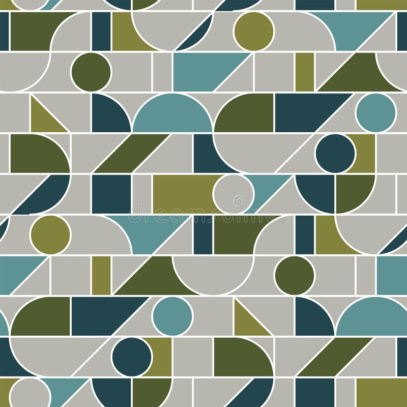 Abstract geometric line mesh seamless pattern in retro 70s olive green hues. stock illustration