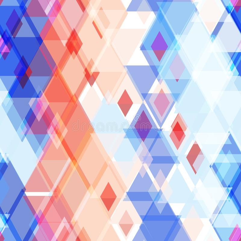 Abstract geometric seamless pattern with rhombus decorative contemporary elements. pink red blue geometric print, ethnic hipster t stock illustration