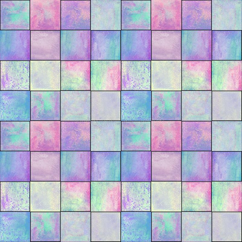 Abstract geometric seamless pattern with squares. Colorful watercolour artwork. Abstract geometric seamless pattern. Multicolor pink purple blue hand drawn royalty free stock image