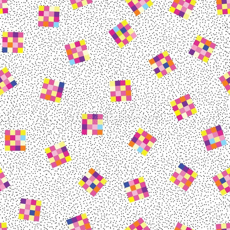 Abstract geometric seamless pattern. Stylish dotted pixel background royalty free illustration